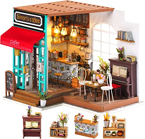 popular Rolife DIY Dollhouse Miniature Kit,House Kit with Dollhouse outlet online sale Furniture,Wooden Dollhouse Miniature Kits,Birthday/Christmas/Valentine's Day Gift for Handicraft Lovers,Women and Girls(Simon's outlet sale Coffee) outlet online sale