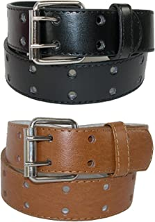 CTM Kid's Leather Two Hole Jean Belt (Pack of 2 Colors)