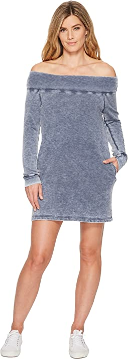 French Terry Long Sleeve Off the Shoulder Dress
