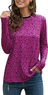 Women's Casual Shirts Leopard Print Tops Basic Long Sleeve Soft Blouse