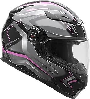 Vega Helmets AT2 Street Motorcycle Helmet for Men & Women – DOT Certified Full Face Motorbike Helmet for Cruisers Sports Street Bike Scooter Touring Moped Moto (Pink Flash Graphic, Medium)