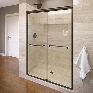 Basco Infinity Semi-Frameless Sliding Shower Door, Fits 44- 47 inch opening, Clear Glass, Oil Rubbed Bronze Finish