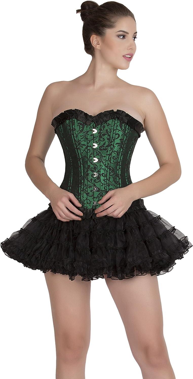 Green Black Brocade Double Bone Goth Burlesque Waist Cincher Overbust Corset Top