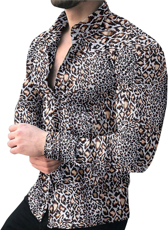 Huangse Men's Fashion Leopard Shirt Long Sleeve Button Up Turn-Down Collar Casual Slim Fit Printed Shirt