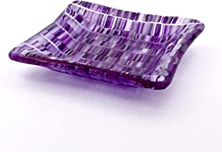 Handcrafted 4 Inch Fused Glass Decorative Bowl in Purple