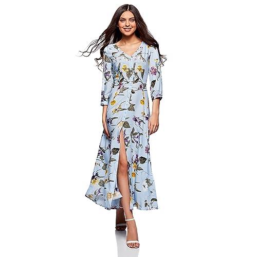 oodji Ultra Damen Maxi-Kleid mit Knöpfen 3f3f0d1891
