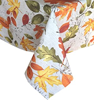 Newbridge Autumn Leaves Fall and Thanksgiving Fabric Tablecloth, Contemporary Bold Colorful Autumn Leaf Print, Print, Soil Resistant, No Iron Easy Care Tablecloth, 60 Inch x 84 Inch Oval