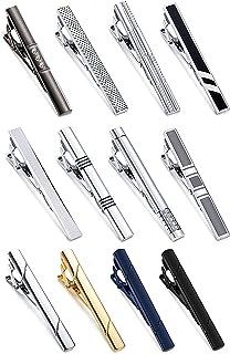 YADOCA 12 Pcs Mens Tie Clips Set Regular Classic Tie Bar Clip Wedding Business Necktie Clips Luxury Silver-Tone Gold-Tone