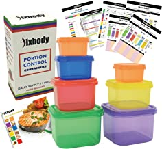 FIXBODY 7 Pieces 21 Day Portion Control Containers Color-Coded Labeled,Lose Weight System (Use Guide & 21 Day Tracker & Recipe Ebook Include)