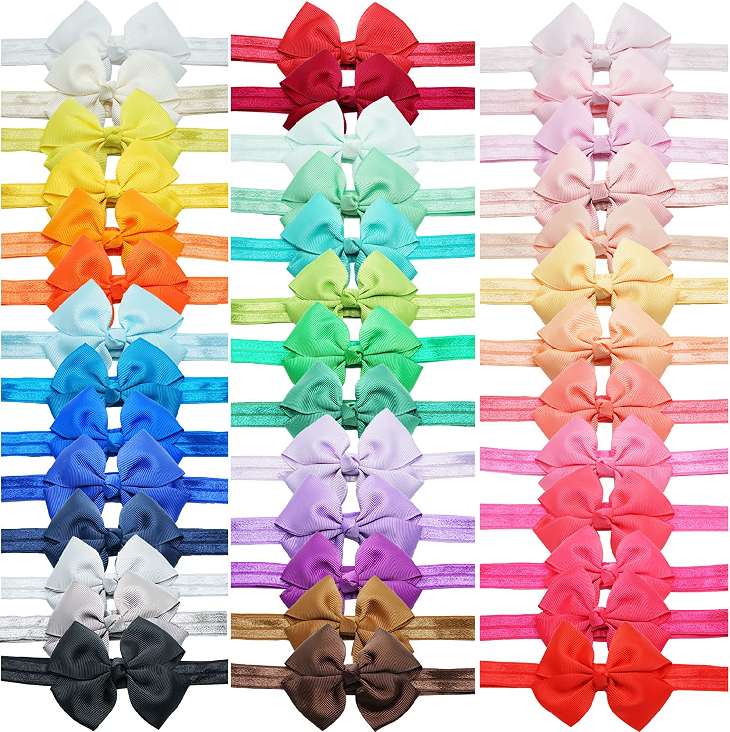 40 Colors Baby Girls Grosgrain Ribbon Hair Bows Headbands Hair Accessories 3.5Inch Bows Elastic Hairbands for Infants Toddlers Kids Children