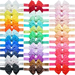 40 Colors Baby Girls Grosgrain Ribbon Hair Bows Headbands Hair Accessories 3.5Inch Bows Elastic Hairbands for Infants Newb...
