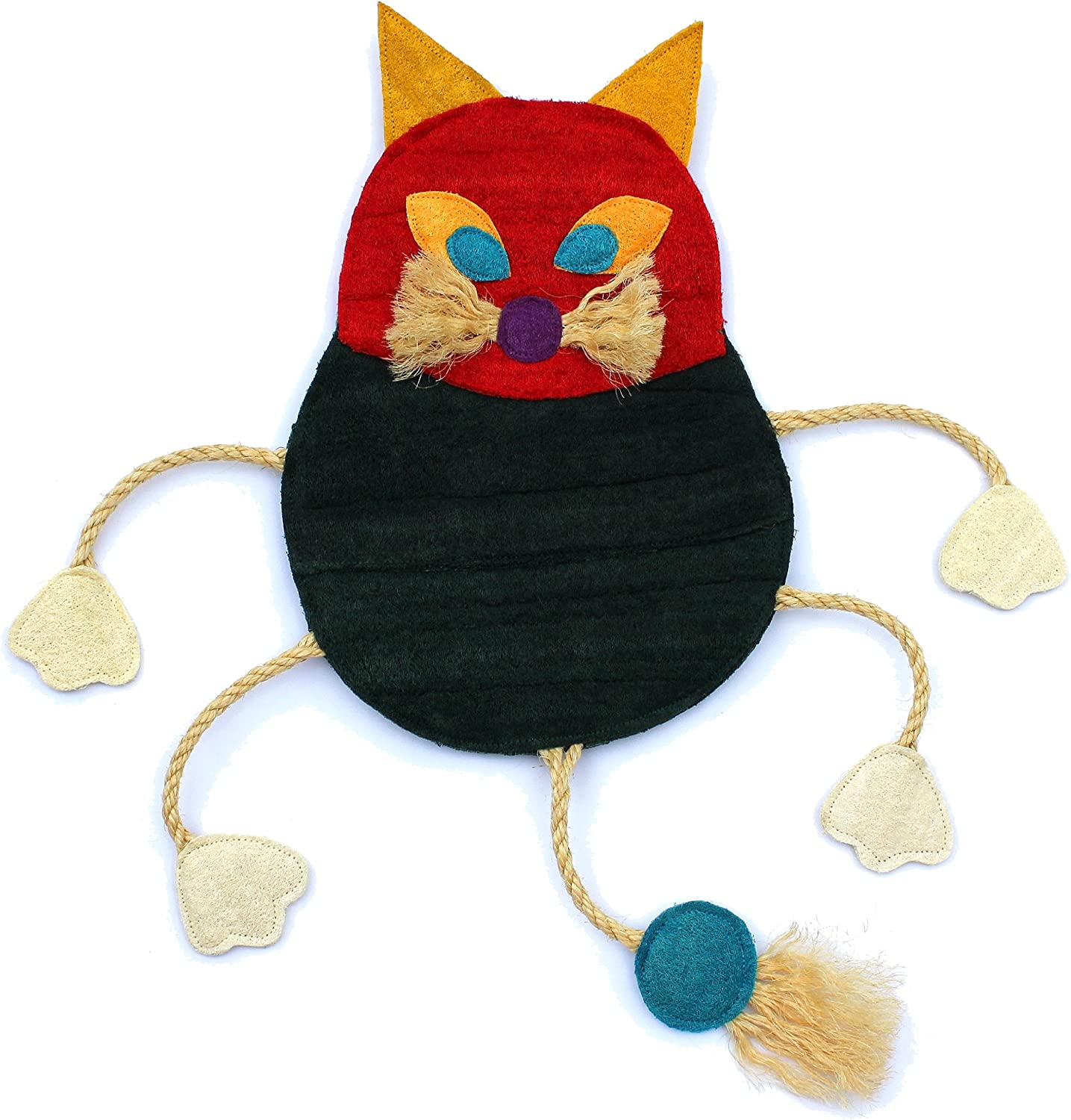 EcoLoofah Original Play and Scratch Station Pet Toy, Cat Design