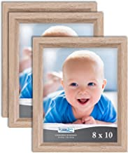 Icona Bay 8x10 Picture Frames, Set of 3 (8 x 10, Weathered Oak Wood Finish), Picture Frame Set Wall Hang Table Top, Cheris...