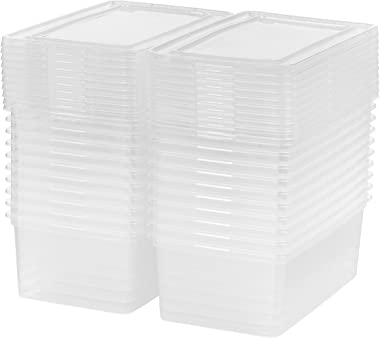 IRIS USA 5 Qt. Plastic Storage Bin Tote Organizing Container with Latching Lid, Great for storing Shoes, Heels, Crayons/Pens,
