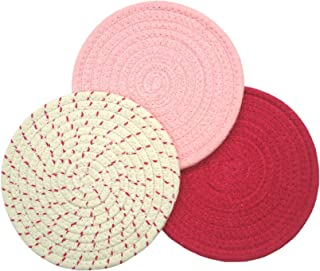 Mia'sDream Pink Kitchen Potholders Set Trivets Set 100% Pure Cotton Thread Weave Hot Pot Holders Set Hot Pads Hot Mats, Round Stylish Coasters, Diameter 7 Inches, Set of 3 Pack,Pink Set