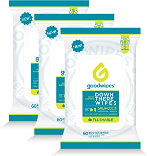 Goodwipes Down There Feminine Flushable Wet Wipes for Women, Shea-Coco Scent, 60 Wipe Pack, 3 Count (180 Wipes)