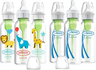 Dr. Brown's Options+ Baby Bottles, 8oz/250ml, Balloon Animals Designs and Clear Bottles, 6 Count