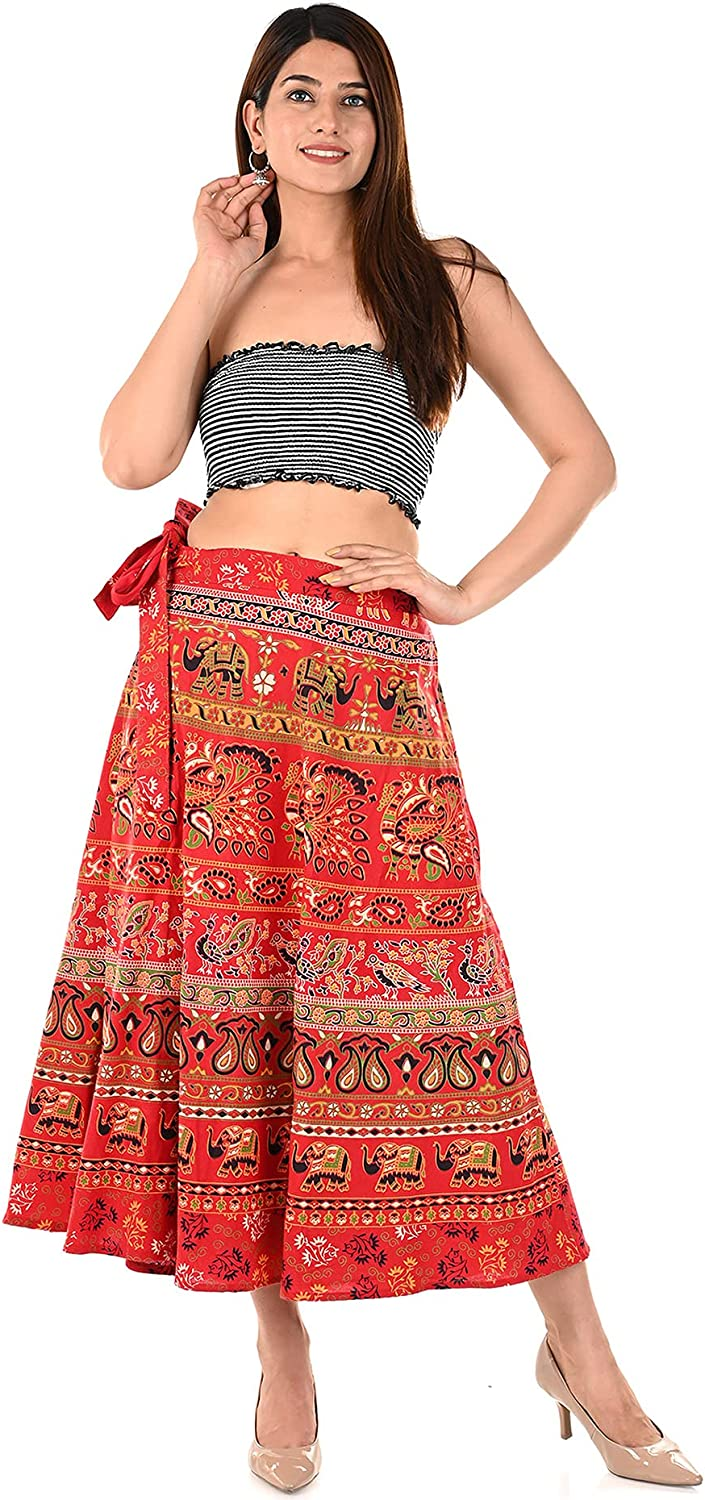 Long Wrap Around Skirts from India Cotton Women's Beach Clothing
