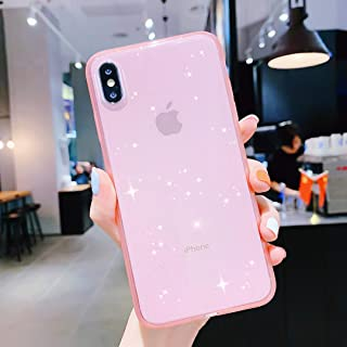 Anynve iPhone Xs Max Case for Girly Clear Glitter Sparkle Bling Case [Air Cushion Anti-Shock Matte Edge Bumper Design] Cute Slim Soft Silicone Gel Case Compatible for Apple iPhone Xmax 6.5''-Pink