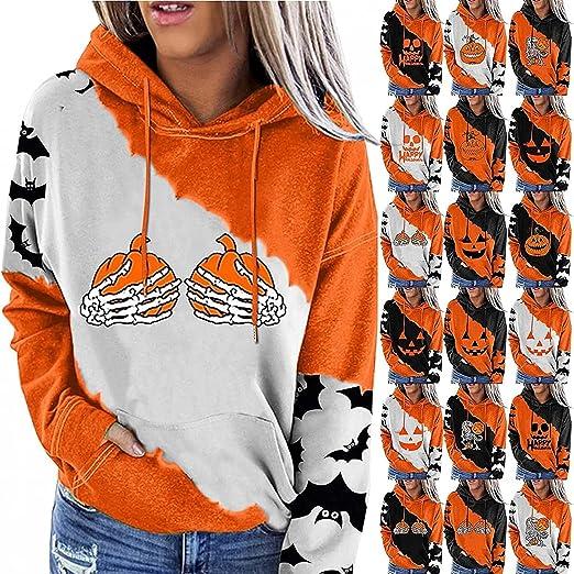 ZEFOTIM Halloween Sweatshirts For Women,Halloween Colorblock Print Pocket Hooded Casual Long Sleeve Crewneck Sweatshirt