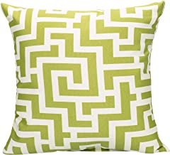 Fern Green Greek Key on Beige Pattern 16 x 16 Indoor Outdoor Throw Pillow