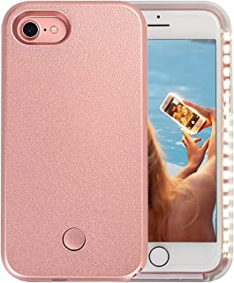 Wellerly iPhone 7 Case, iPhone 8 case, LED Illuminated Selfie Light Cell Phone Case Cover [Rechargeable] Light Up Luminous Selfie Flashlight Case for iPhone 7 / iPhone 8 4.7inch (Rose Gold)