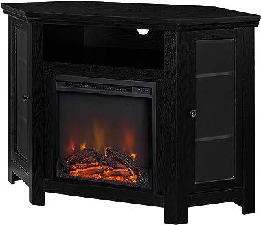 "WE Furniture 48"" Corner TV Stand Fireplace Console, Black"