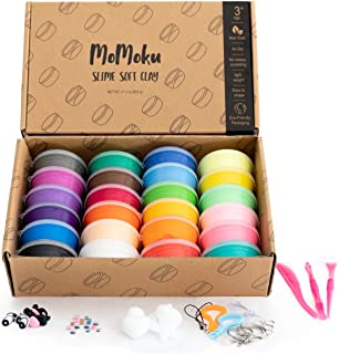 Momoku Slime Soft Clay. Super Light Non Toxic Premium Air Dry Magic Modeling Clay. 24 Colors, 54 Accessories, 3 Clay Tools All in Perfect Eco Friendly Package. Best Toy for Kids
