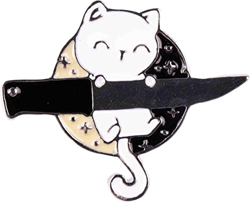 high quality GSM Brands Smiling Ninja 2021 Cat with Knife wholesale Enamel Lapel Pin outlet sale