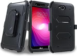 LG X Venture Case, LG X Calibur Case, LG V9 Case w/ Built-in [Screen Protector] Heavy Duty Full-Body Rugged Holster Armor Case [Belt Swivel Clip][Kickstand]