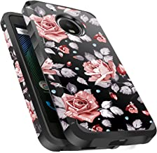 Moto E4 Plus Case Shockproof, Miss Arts Slim Anti-Scratch Protective Kit with [Drop Protection] Heavy Duty Dual Layer Hybrid Sturdy Armor Cover Case for Moto E4 Plus 2017 -Rose Gold Flower/Black