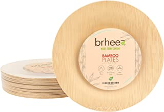 """Brheez 7"""" Bamboo Veneer Disposable Eco-Friendly Plates - Elegant, Compostable and Biodegradable - Made from 100% Natural Bamboo - (Pack of 10)"""