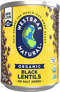 Westbrae Natural Organic Black Lentils, No Salt Added, 25 Oz (Pack of 12)