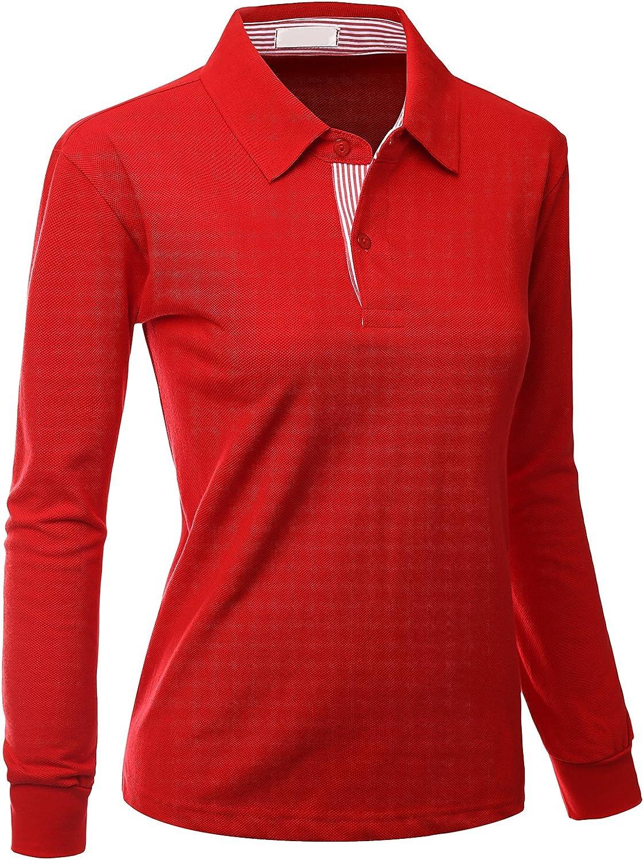 Xpril Women's Casual Basic Sporty Long Sleeve Polo Collar T-Shirt