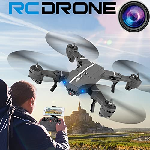 OKPOW RC Drones 2MP 120° Wide Angle FPV Foldable RC Quadcopter Drone 2.4Ghz 6-Axis Gyro Altitude Hold Quadcopter Remote Control Selfie Drones with 720P HD Camera