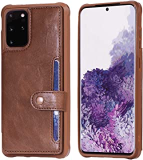 PU Leather Flip Cover Compatible with Samsung Galaxy S20, coffee Wallet Case for Samsung Galaxy S20