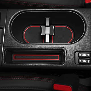 Custom Fit Cup and Console Liner Acessories for Subaru WRX Electric Parking Brake 2016 2017 2018 2019 2020 (Red Trim)