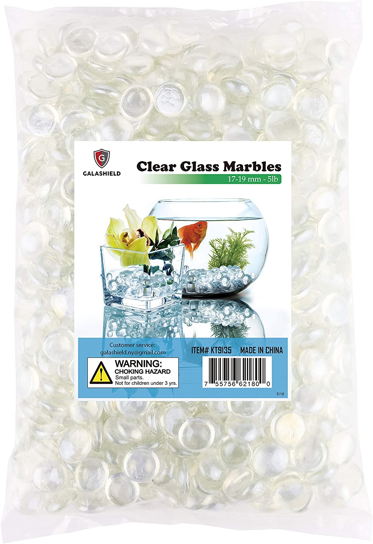 1 lb Bag // 100 Stones Galashield Glass Flat Clear Marbles Glass Pebbles Gems for Vase Fillers Stones Rocks