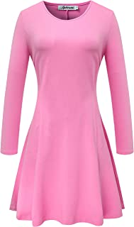 Women's Crew Neck Long Sleeve Fit and Flare Casual Skater Dress
