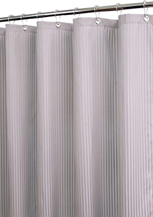 Park B. Smith Satin Stripe Watershed Shower Curtain, Argento Antico, Poliestere, Antique Silver, 72 by 72