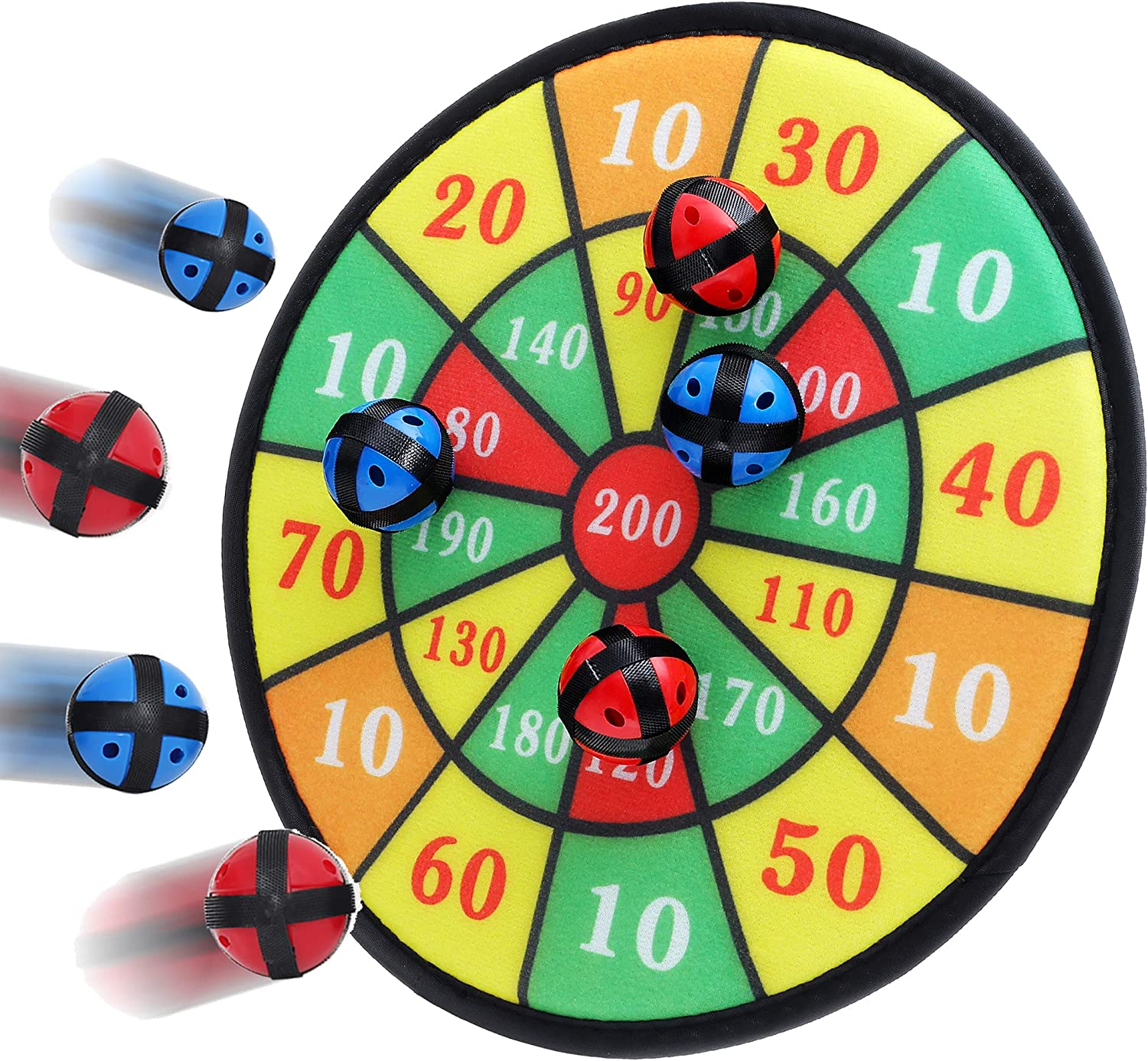 BETTERLINE Kids Dart Board Game with 6 Balls Using Hook-and-Loop