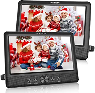FANGOR 10.5 Dual DVD Player for Car Portable Headrest Video Players with 2 Mounting Brackets, 5 Hours Rechargeable Battery...