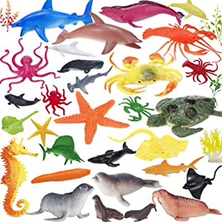 Ocean Animals Figures, Plastic Sea Animal Creatures Figurines Toys, Realistic Large Deep Sea Life Shower Bath Pool Toys Cupcake Topper Party Favor Gift for Child Toddler with Turtle Shark, 34 Piece