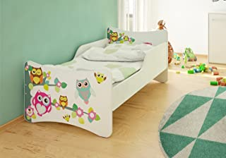Best For Kids Barnsäng 70 x 140 med 10 cm madrass tyv certifierad ugglor