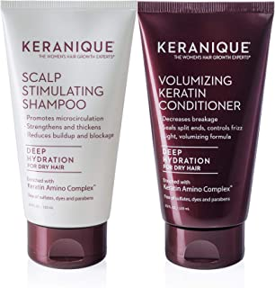 Keranique Keratin Shampoo and Conditioner Set for Dry Thinning Hair, Sulfates/Parabens Free, stimulates scalp to nourish/rejuvenate hair follicles for healthy Thicker Fuller Hair 4.5 OZ each