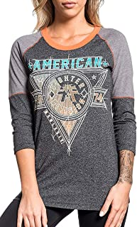 Siena Heights 3/4 Sleeve Sport Graphic Fashion Raglan T-Shirt Top by Affliction