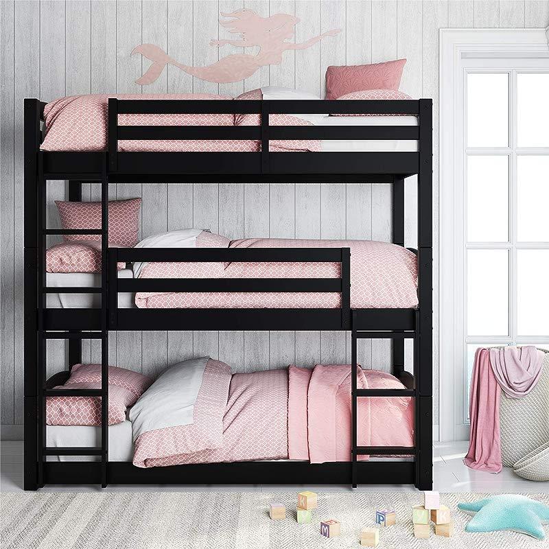 Dorel Living FZ7891TBBB Phoenix Floor Black Triple Bunk Bed