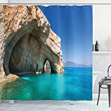 Ambesonne Greece Shower Curtain, Sea Cave on Zakynthos Island Greece Vacation Relaxing Seascape Coastline Picture, Cloth Fabric Bathroom Decor Set with Hooks, 84 Long Extra, Blue Tan