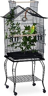 Relaxdays Volière d'oiseaux avec perchoir, Etagère, sur roues, XXL,pieds recourbés, HlP 140x62x59cm noir