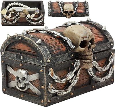 Pirate Davy Jones Ghost Ship Haunted Skull Skeleton Treasure Chest Jewelry Box Home Kitchen